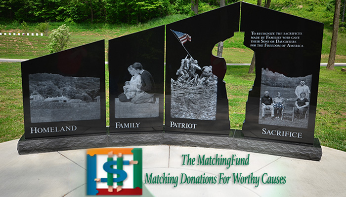 Gold Star Family Monument with matchingfund.org logo
